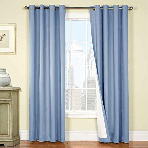 Jinchan blackout drapes for bedroom blue thermal lined curtains for living room 84 inches long for Lined valances for living room