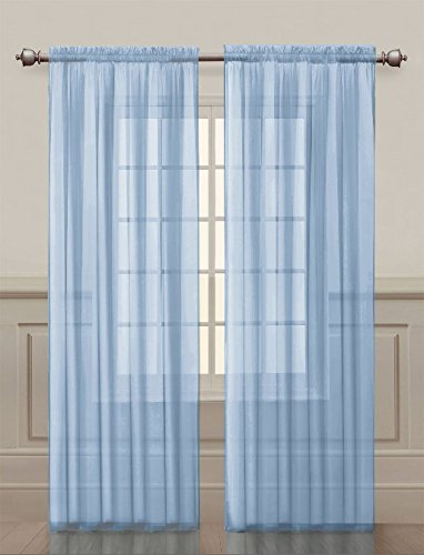2 Pack: Ultra Luxurious High Thread Rod Pocket Sheer Voile Window Curtains  By GoodGram® U2013 Assorted Colors (Baby Blue)