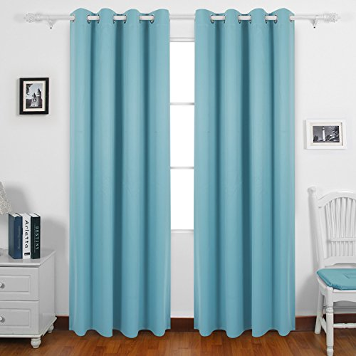 deconovo blue blackout curtains blackout drapes with backside silver for sliding glass doors 52 by 84 inch light blue 1 pair