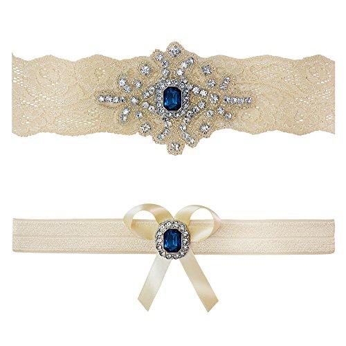 08305246214 Ivory Sapphire Blue Wedding Bridal Garter Set Keepsake Toss (Medium (18″ –  19″))
