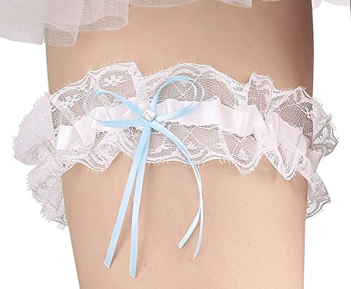 66aa9a166 Merya Dress Lace Wedding Garter for Bride Stretch Crystal Prom Garter with  Crystal Bow Detail Blue-Ivory